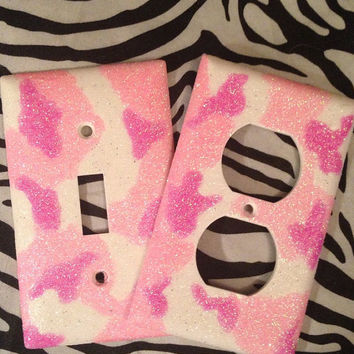Pink Camouflage Glittered Light Switch & Outlet Cover Set