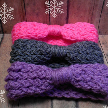 Baby Crochet Ear Warmer, Baby Crochet Headband, Infant Knit HeadWrap, Baby Winter Head Wrap, Baby Girl Gift Set, 0-12 Month Sizing Options