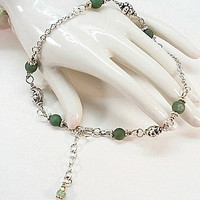 Celtic Shamrock and Silver Anklet Bracelet - AB0906-06