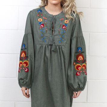 Tassels + Embroidery Long Sleeve Dress {Olive}