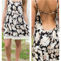 Good Vibes Black Floral Open Back Sundress