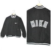 NIKE starter jacket vintage 80s 90s ATHLETIC club kid black + white WINDBREAKER bomber jacket small medium os