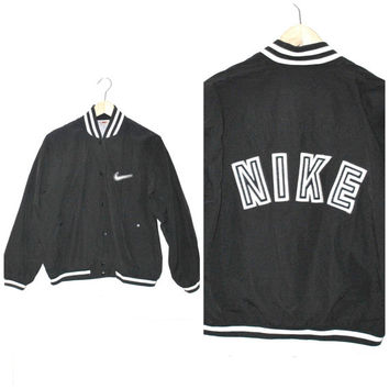 2ddfce92216a9 NIKE starter jacket vintage 80s 90s ATHLETIC club kid black + white  WINDBREAKER bomber jacket small