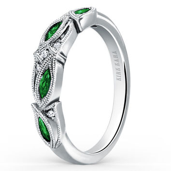 "Kirk Kara ""Dahlia"" Green Tsavorite Garnet Leaf Diamond Wedding Band"