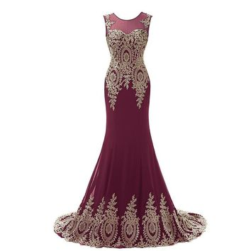 Robe De Soiree 2017 Long Burgundy Red Mermaid Prom Dresses Gold Applique Formal Evening Gowns Turkish Dresses Galajurken XU039