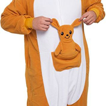 Unisex Adult Pajamas - Plush One Piece Cosplay Kangaroo Animal Costume