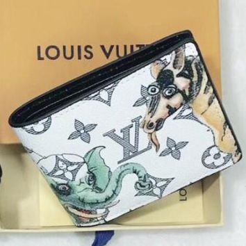 LV Louis Vuitton Fashion New Monogram Animal Print Leather Couple Purse Wallet White