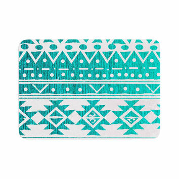 "Nika Martinez ""Aquamarine Tribal"" Teal Blue Memory Foam Bath Mat"