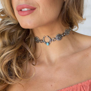 Silver & Turquoise Choker Necklace Set