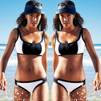 Hot Sports Zipper Printing Bikini Set Swimsuit Beach Bathing Suits Vest