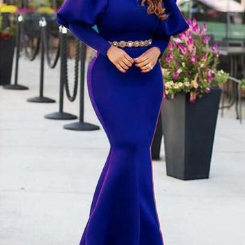 New Royal Blue Draped Lantern Sleeve Mermaid Scuba Banquet Prom Party Maxi Dress