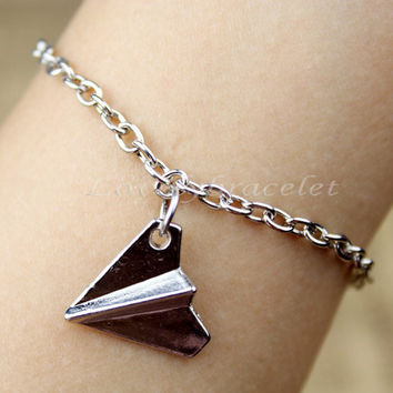 Paper airplane bracelet bracelets silver by lovelybracelet on Etsy