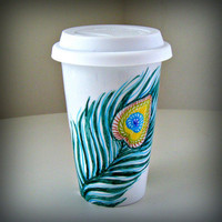Peacock Feathers Ceramic Travel Mug Painted Nature by sewZinski