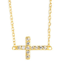 Lord & Taylor 18 Kt Gold Over Sterling Silver and Cubic Zirconia Sideways Cross Pendant Necklace