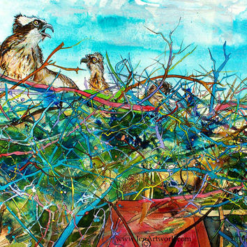 Osprey w/Nest-Art by Jen Callahan Tile,Cuttingboard,Paper Print