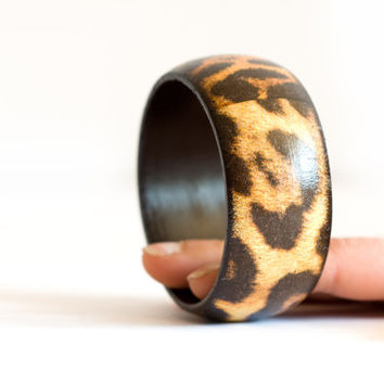 Leopard Africa Bracelet, Safari Brown Bangle, African Jewelry, Orange Gift under 25, Wood Jewelry