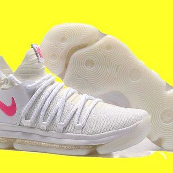 Nike KD 10 White Pink Glow in the Dark For Sale