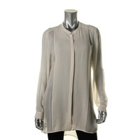 Eileen Fisher Womens Silk Sheer Button-Down Top