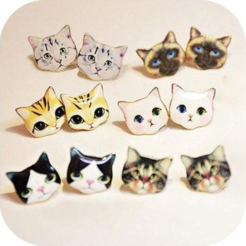 PEAPGZ9 1 Pair Lovely Cat Delicate Manual Cartoon Stud Earrings [8802097164]