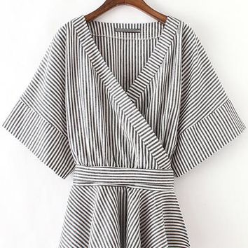 Black And White Stripe Bow Wrapped Blouse