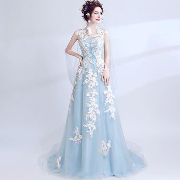 Sleeveless Evening Dresses Floor Length Floral Appliques Embroidery Lace Up Formal Dress