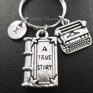 Typewriter, book keyring, keychain, bag charm, purse charm, monogram personalized custom gifts under 20 item No.803