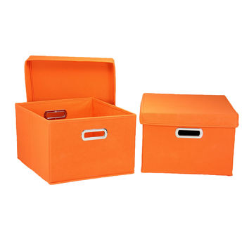 Collapsible Shelf Storage Boxes With Lids - Orange - Set of Two