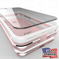 THIN Crystal Clear Back Aluminum Metal Bumper Slim Case Cover iPhone 8 7/6S Plus