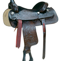 """Classic Leather Roper Saddle 16""""-17"""" by Ozark Leather Co. -SQH Bars"""