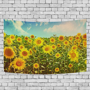 Nature Art Sunflowers Field in Summer Landscape Tapestry Wall Hanging Beautiful Sky Cloud Wall Art Home Decor