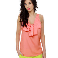 Adorable Coral Pink Top - Bow Top - Tank Top - $26.00