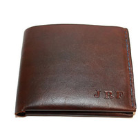 Custom you choose finish, thread, initials personalized leather bifold men's wallet. Perfect gift for him