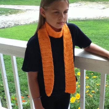 Bright Orange Long Trendy Scarf - Unisex , Great for fall and Halloween