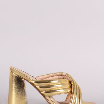 Quilted Crisscross Chunky Mule Heel