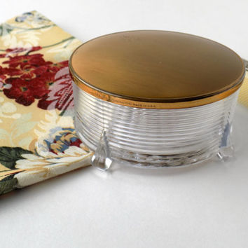 Vintage Vanity Powder Box. Elgin American. Jewelry Holder. Cosmetic Jar. Trinket Box. Bedroom Decor. Vintage Boudoir. Bathroom Storage.