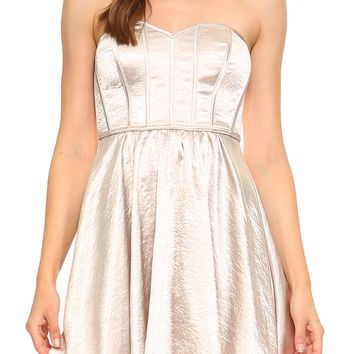 Teeze Me | Strapless Vintage Satin Crepe Corset Party Dress | Champagne