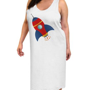 Space Rocket Ship and Stars Adult Tank Top Dress Night Shirt by TooLoud
