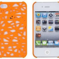 Neon Orange Birds Nest Case for Apple iPhone 4, 4S (AT&T, Verizon, Sprint) - Includes 24/7 Cases Microfiber Cleaning Cloth [Retail Packaging by DandyCase]