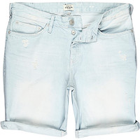 River Island MensLight wash distressed slim denim shorts