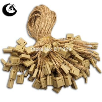 free shipping top-quality thin hemp rope hang tag sling string buckle,brown cords,garment tag line clothing cotton thread