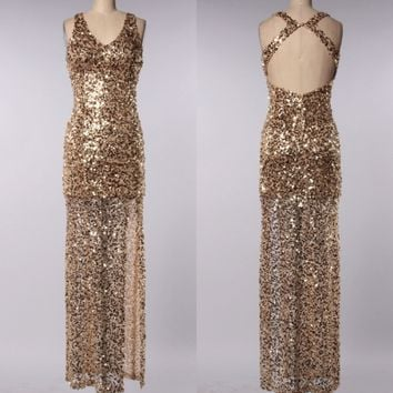 perfect party ball gown sequin maxi dress - gold