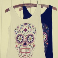 [628-White] Skull and Floral Pattern Vest
