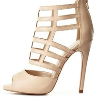 Nude Qupid Caged Peep Toe Heels by