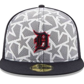 LMFON MLB New Era Detroit Tigers 2016 July 4th 59Fifty Fitted Hat