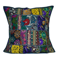 Black Tribal Patchwork Decorative  Accent Cotton Pillow Cover on RoyalFurnish.com