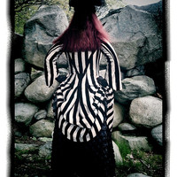 Kambriel Black & White Velvet Striped Cabaret Bustle Jacket - custom made for you