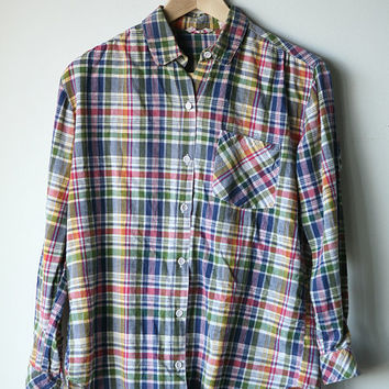 women's vintage PLAID 70s WESTERN button up shirt blouse