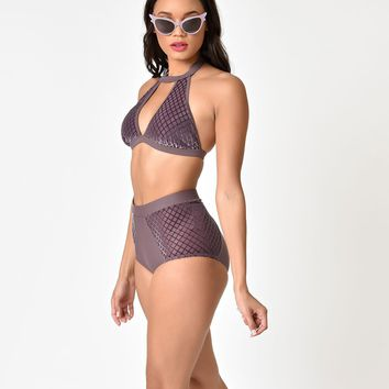 Retro Style Mauve Purple Velvet Halter High Waist Swim Bottoms