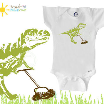 Organic dinosaur Onesuit bodysuit, T-rex with lawnmower, hipster baby, boy or girl