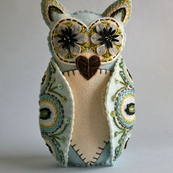 Owl Doll- Mexican Folk Art- Blue and White